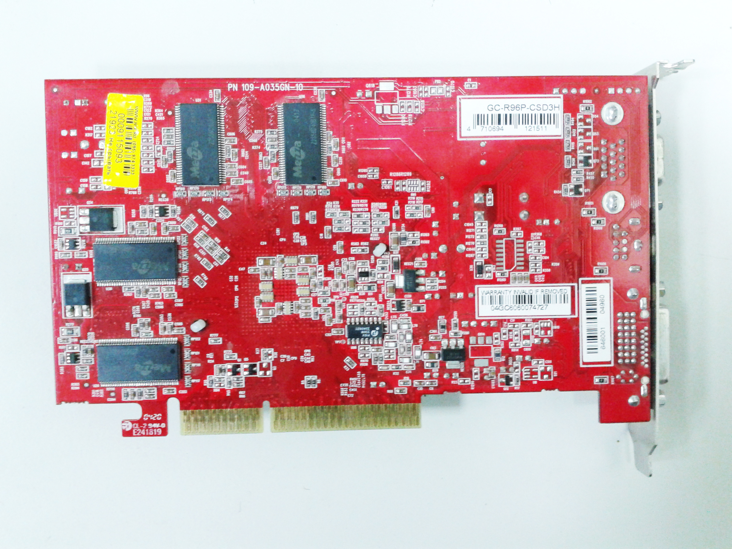 Bus width 256 mb dr / 128 bit core speed 400mhz memory speed 200 mhz x 2 output dvi/tv out/crt interface agp 4x/8x